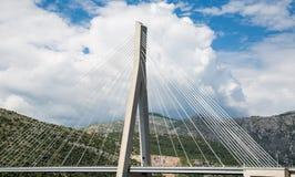White Cables of Croatia Suspension Bridge Stock Image