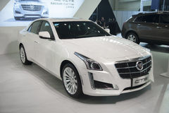 White cadillac cts car Stock Photos