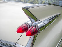White cadillac. Tail fin up close Royalty Free Stock Photos