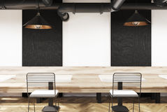 White cafe with benches and blackboards Royalty Free Stock Photos