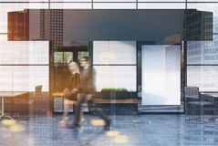 White cafe exterior with a blank poster, people. White cafe exterior with a glass door, a poster in a window and a place for a chain name. People. 3d rendering Stock Photography