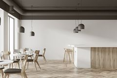 White cafe interior with a bar. Interior of a white cafe with a wooden floor, round white tables and gray and wooden chairs. A bar with stools. 3d rendering mock Stock Photo