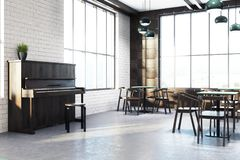 White cafe interior corner, piano. Modern cafe interior corner with wooden walls, a concrete floor, square tables and wooden chairs. A piano. 3d rendering mock royalty free illustration