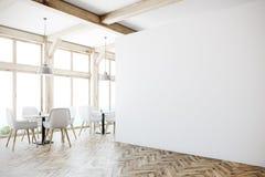 White cafe interior, loft windows, corner Stock Image