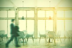 White cafe interior, loft windows. people Royalty Free Stock Images