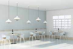White cafe interior side Stock Images