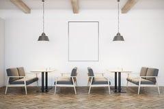 White cafe interior, gray sofas, poster Stock Image