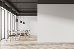 White cafe interior. With a wooden floor, tall windows and gray and wooden chairs near round tables. A blank wall fragment. 3d rendering mock up Stock Photos