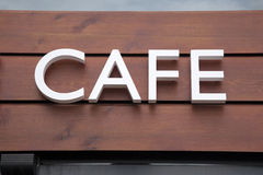 White Cafe Sign Royalty Free Stock Photo