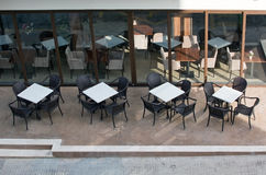 White cafe tables Royalty Free Stock Photos