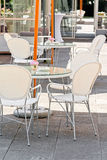 White cafe in Warsaw Royalty Free Stock Photo