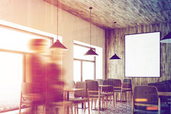 White cafe, wooden ceiling, poster, corner people Stock Photography