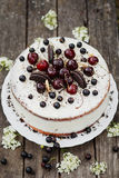 White cake with berries and biscuits Stock Photography