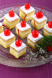 White Cake with cherries. With beautiful background in studio Stock Image