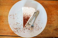 White cake  with chocolate in white plate Stock Images