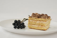 White cake with cocoa and chokeberry. Piece of white cake on plate sprig Aronia berries Stock Photos