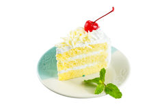 White cake delicious, vanilla cake topping with white chocolate Royalty Free Stock Photo