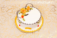 White cake with fruits Stock Photo