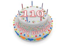 White cake with happy birthday and the age. Shown is a white cake with the age and happy birthday royalty free illustration