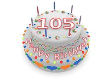 White cake with happy birthday and the age. Shown is a white cake with the age and happy birthday Stock Photo