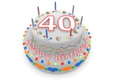 White cake with happy birthday and the age. Shown is a white cake with the age and happy birthday Stock Photos