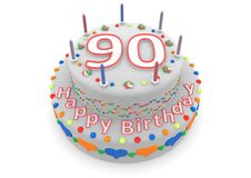 White cake with happy birthday and the age. Shown is a white cake with the age and happy birthday Stock Photography