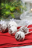 White cake pops decorated with dark chocolate Stock Photo