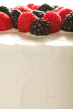 White Cake with Raspberries and Blackberries Royalty Free Stock Photo
