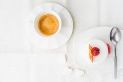 White cake with raspberry and coffee horizontal Stock Image