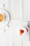 White cake with raspberry and coffee vertical Stock Image