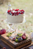 White cake with red berries for the bride and groom. Outdoor party Stock Image