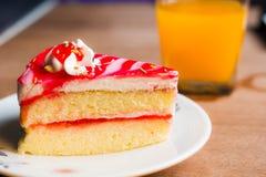 White cake. With strawberry jam Stock Photos