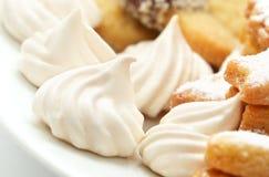 White cakes. Christmas cakes with cookie and sugar diagonally Stock Photo