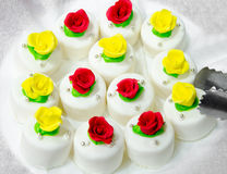 White cakes with roses Royalty Free Stock Photography