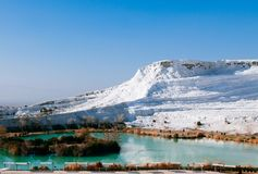 White calcium limestone landscape and thermal pool in Pamukkale,. Beautiful extraodinary calcium carbonate landscape and thermal in Pamukkale, Denizili, Turkey Stock Images