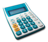 White calculator green white yellow button. With shadow Stock Photos