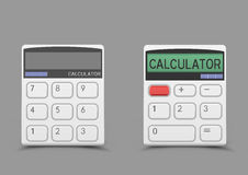 White calculator icon. Turn on and off white calculator icon with shadow on gray background. Modern count tool Royalty Free Stock Photography
