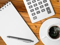 White calculator and white note paper Stock Images