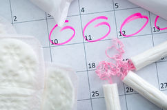 White calendar with pink circles around Stock Images