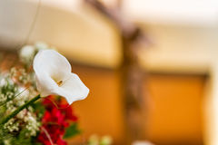 White calla lily and Crucifix Stock Photos
