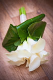 White Calla Lily Wedding Flower Bouquet. On timber background Stock Photography