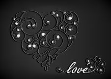 White calligraphic heart with shadow and love word on the black background Stock Photos