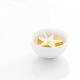A white calndle on a white background Stock Photography