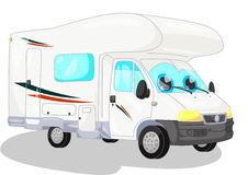 White camper. Smiling withe camper isolated.clipping path included Stock Image