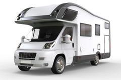 White camper vehicle - studio lighting closeup shot. Isolated on white background royalty free stock photography