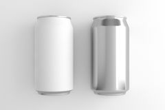 White can and Silver can on white background. 3D illustration Stock Images