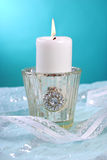 White candle with flame Royalty Free Stock Photography