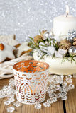 White candle holder with oriental ornaments Stock Images