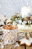 White candle holder with oriental ornaments Stock Photography