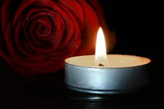Candle and red rose. White candle and red rose Royalty Free Stock Photo
